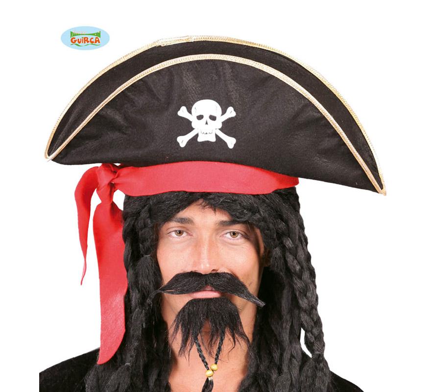 Gorro o Sombrero de Pirata negro con Calavera.