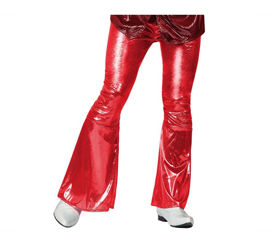 Pantalón de la Disco Brillo rojo para hombre. Talla 1 ó talla S = 48/52 para chicos delgados o adolescentes. Incluye pantalón. Perfecto para disfrazarse de Discotequero.