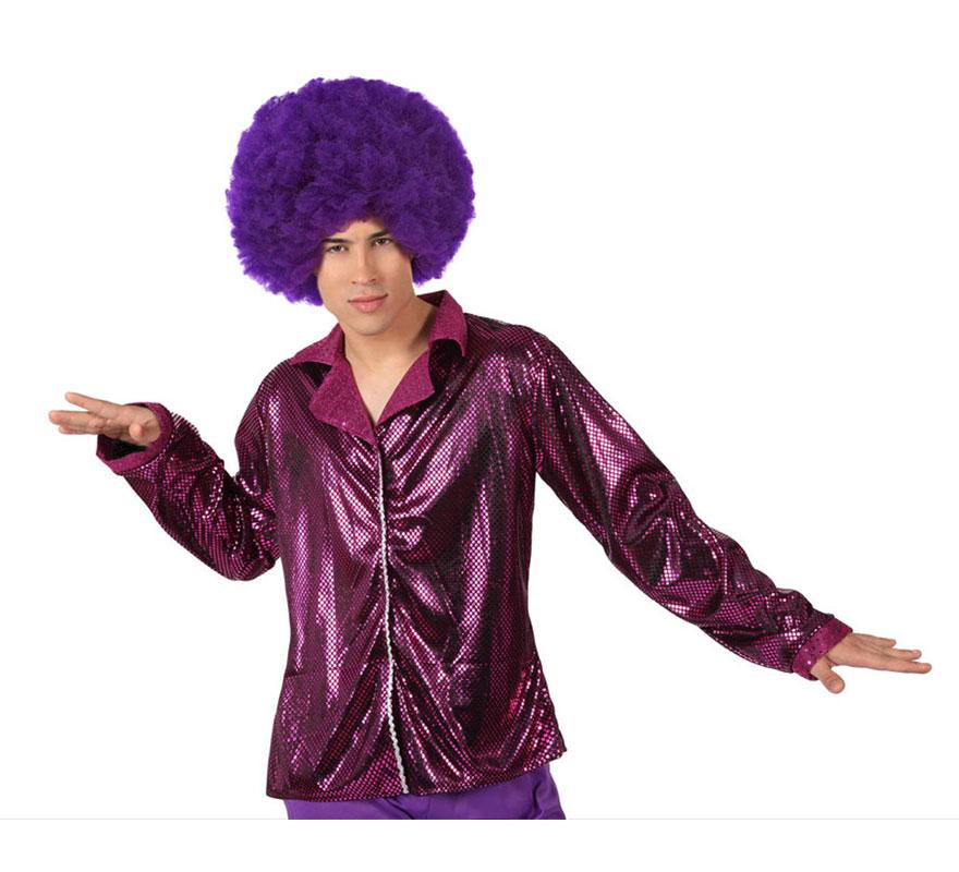 Camisa de la Disco Brillo fucsia para hombre. Talla 2 ó talla M-L = 52/54. Incluye camisa. Perfecto para disfrazarse de Discotequero.