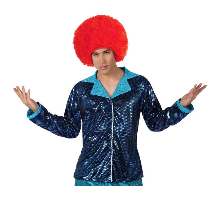 Camisa de la Disco Brillo azul para hombre. Talla 3 ó talla XL = 54/58. Incluye camisa. Perfecto para disfrazarse de Discotequero.