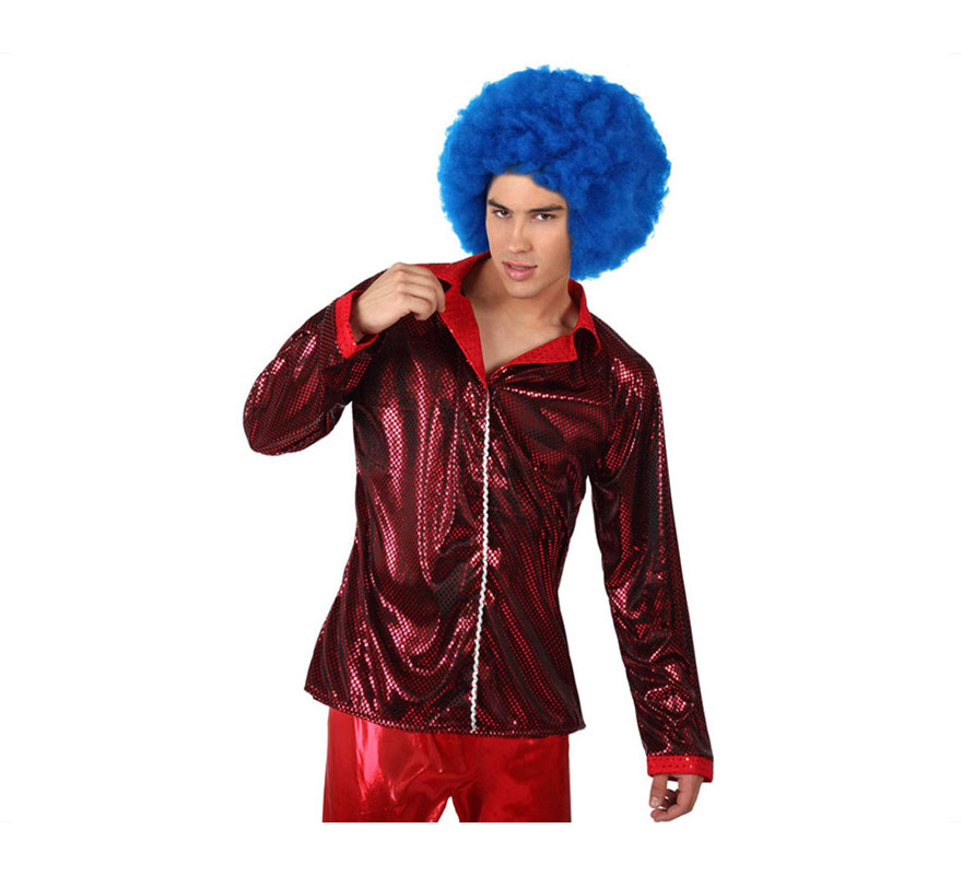 Camisa de la Disco Brillo rojo para hombre. Talla 2 ó talla M-L = 52/54. Incluye camisa. Perfecto para disfrazarse de Discotequero.
