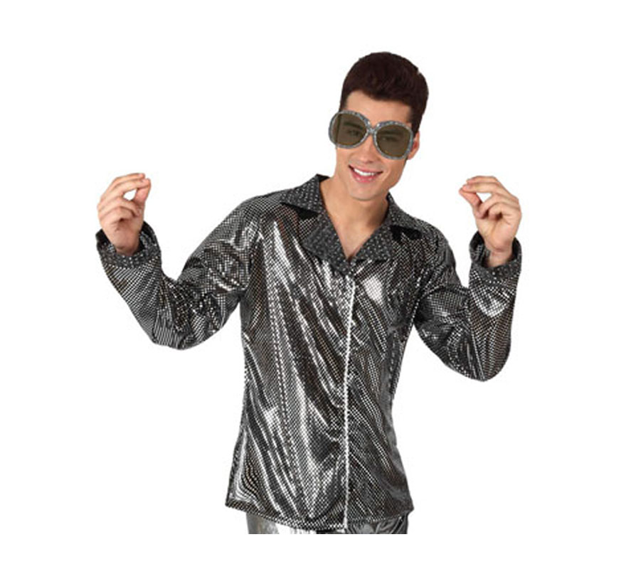 Camisa de la Disco Brillo plateada para hombre. Talla 2 ó talla M-L = 52/54. Incluye camisa. Perfecto para disfrazarse de Discotequero.