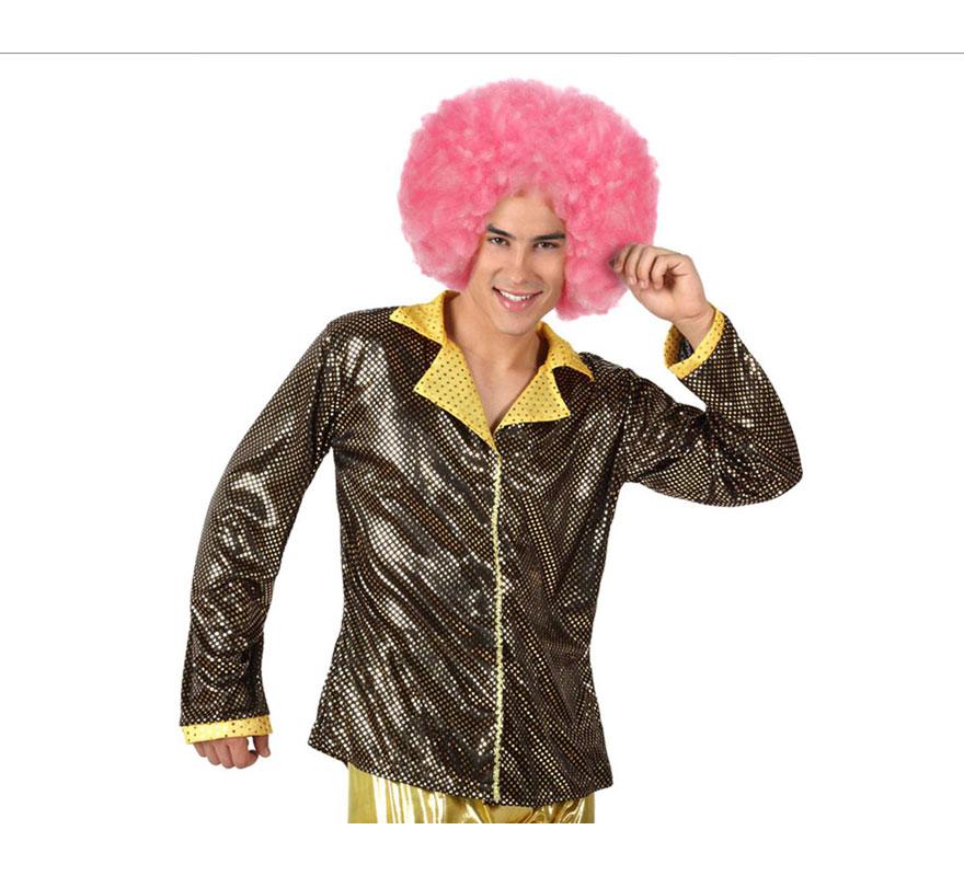 Camisa de la Disco Brillo dorada para hombre. Talla 3 ó talla XL = 54/58. Incluye camisa. Perfecto para disfrazarse de Discotequero.
