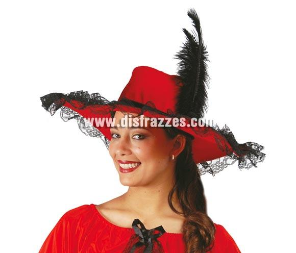 Pamela roja con pluma negra.