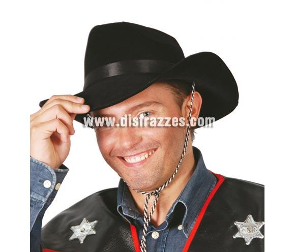 Sombrero Vaquero o Pistolero flocado negro.