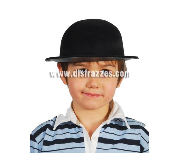 Sombrero Bombín flocado negro infantil.