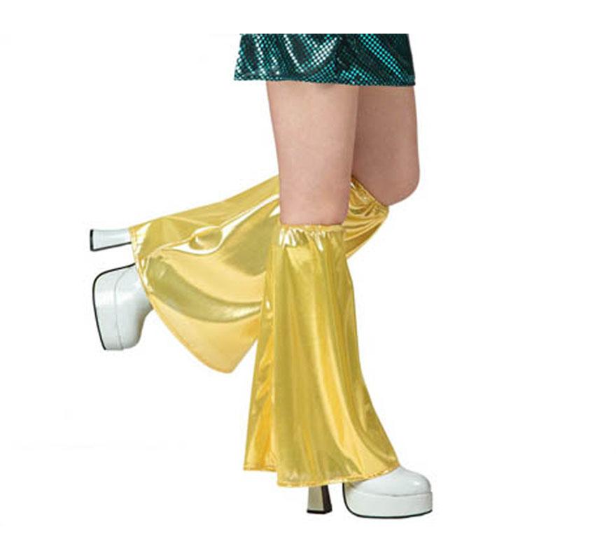 Calentadores de campana para el disfraz de la Disco dorado.