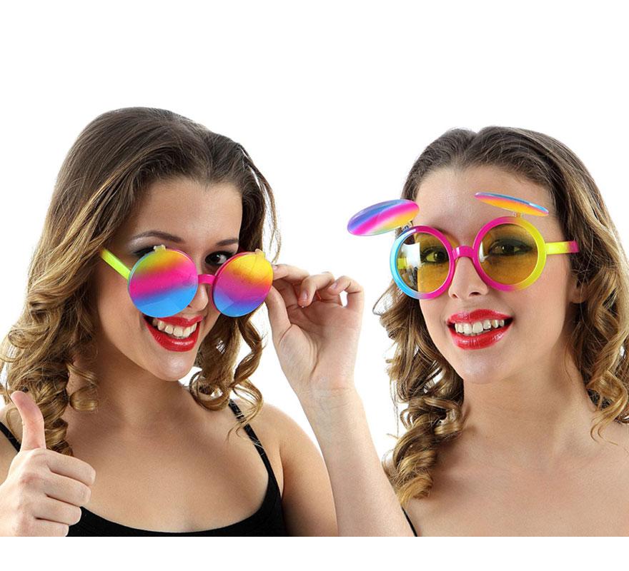 Gafas de Sol cristales amarillos de los Años 60 multicolor con tapas.