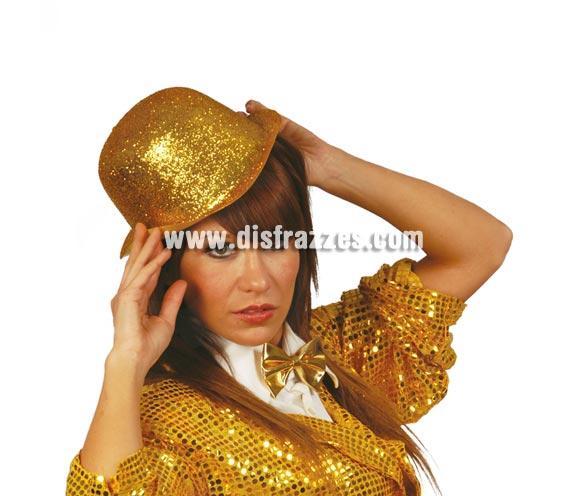 Sombrero bombín escarcha oro.
