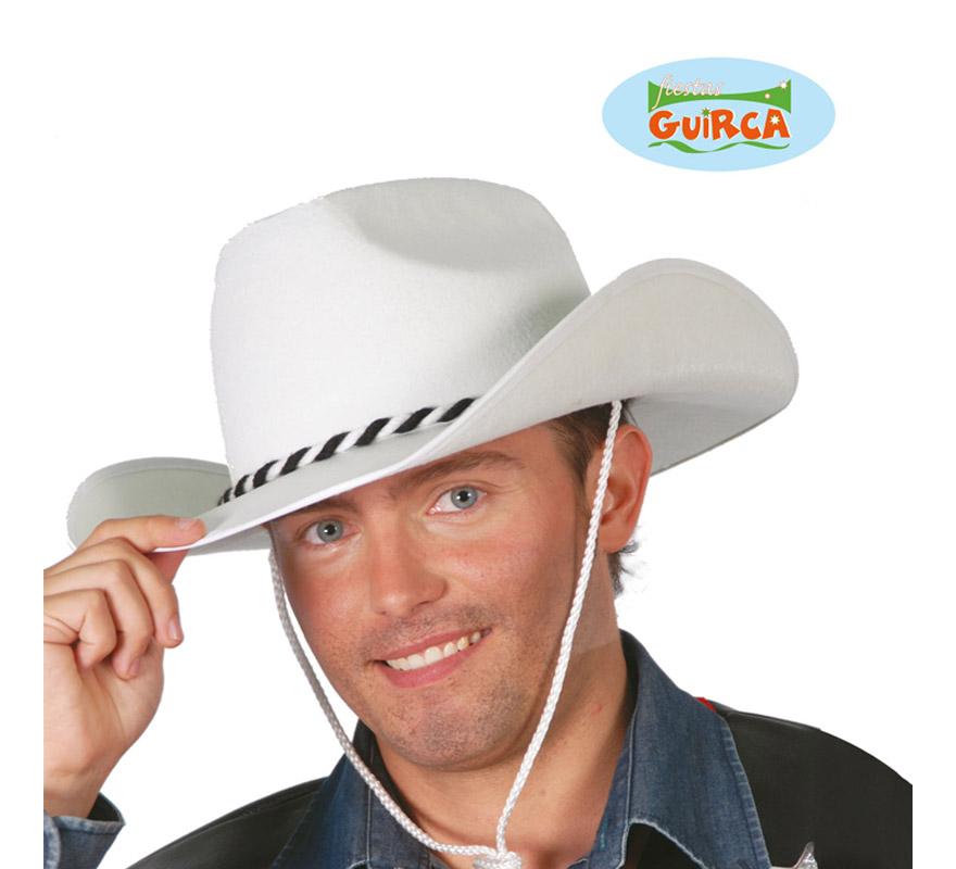 Sombrero Vaquero o Cowboy de fieltro blanco.