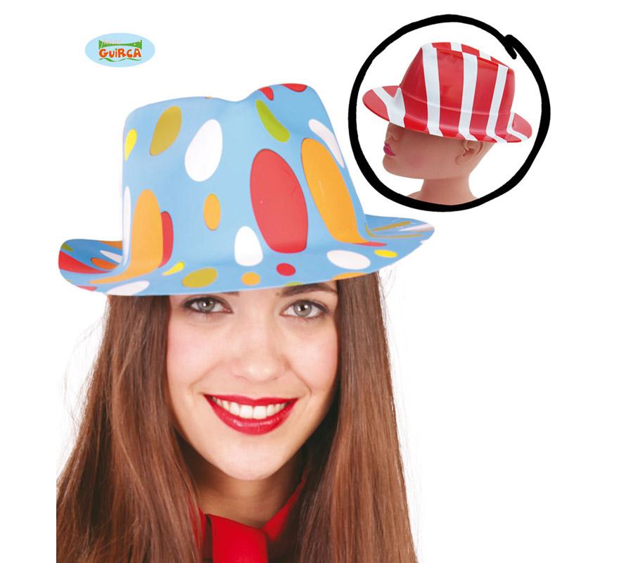 Sombrero de Ganster de colores de plástico. Dos colores surtidos, precio por unidad, se venden por separado.