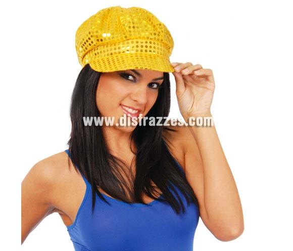 Gorra de lentejuelas en color oro. Ideal para hacer algún baile o para imitar a Hanna Montana. También nos la piden para Despedidas de Solteras.