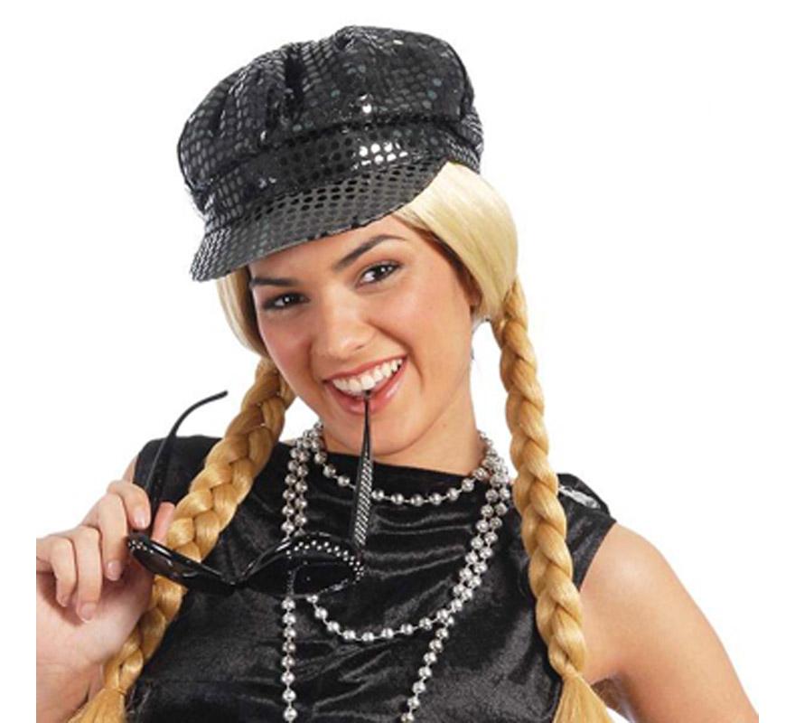 Gorra de lentejuelas en color negro. Ideal para hacer algún baile o para imitar a Hanna Montana. También nos la han pedido para alguna Despedida de Soltera.