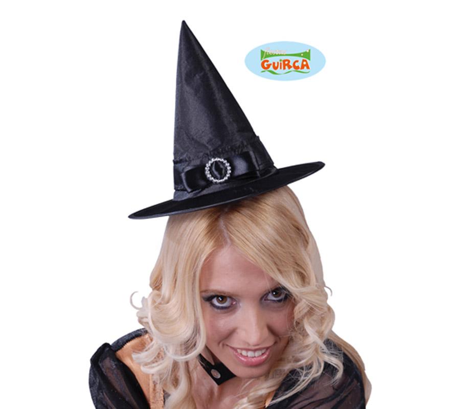 Mini sombrero de Bruja negro para Halloween. También nos lo piden mucho para Despedidas de Soltera.