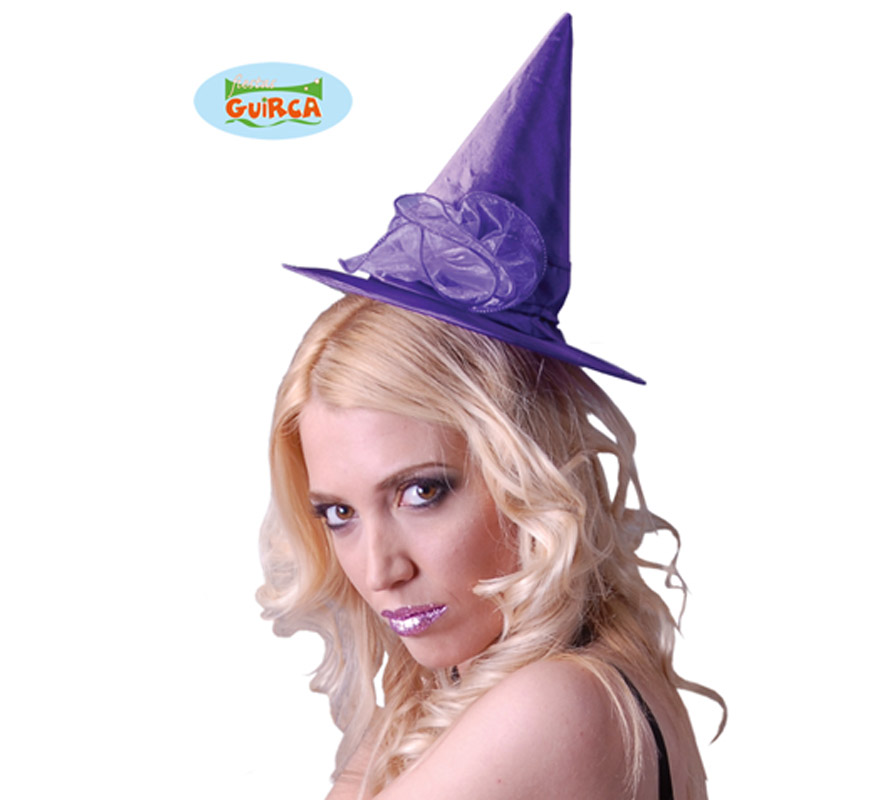 Mini sombrero de Bruja lila para Halloween.