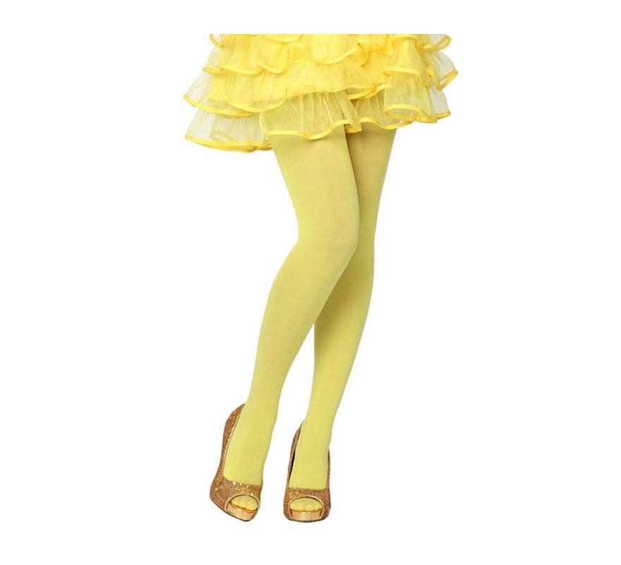 Pantys amarillo neon. Talla Universal. Perfectas para el disfraz de Bruja y de Blancanieves.