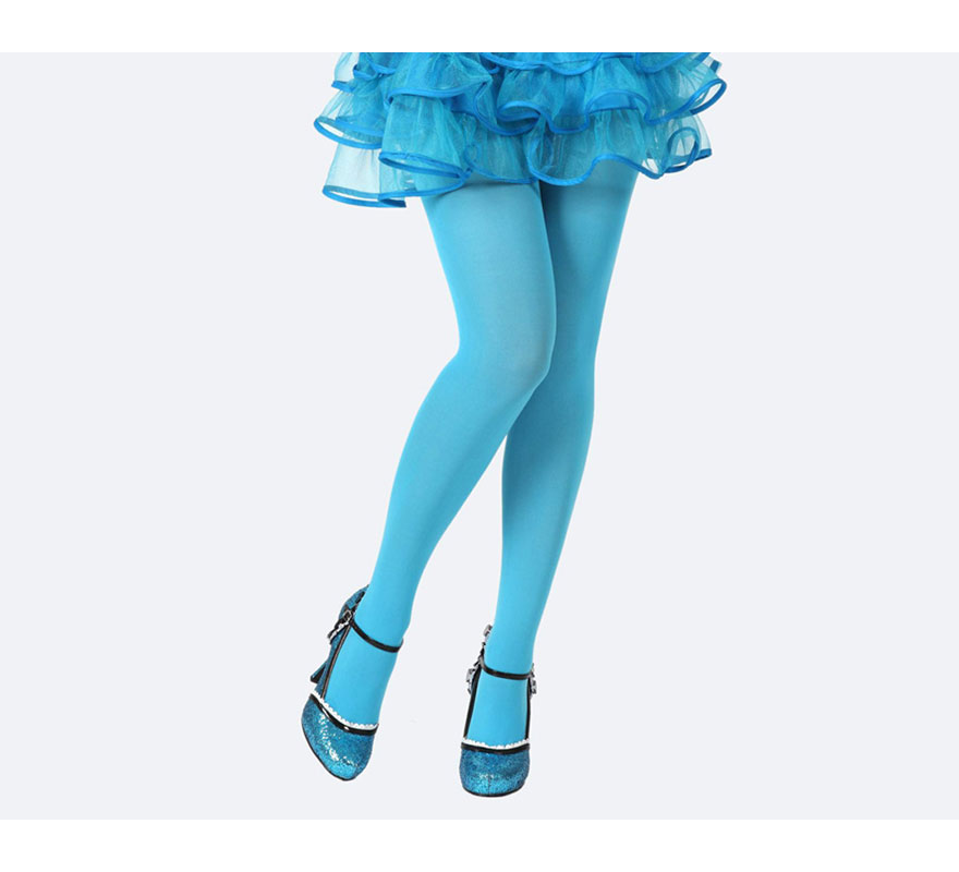 Pantys azul neon. Talla universal. Perfectas para el disfraz de Pitufa o Pitufina y de Bruja.