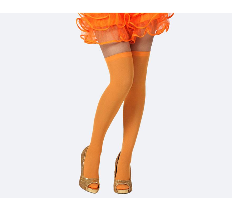 Medias Liga naranja neon. Talla universal. Perfectas para el disfraz de Bruja Sexy.