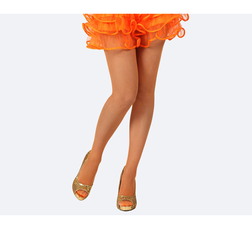 Pantys de rejilla naranja neon talla única