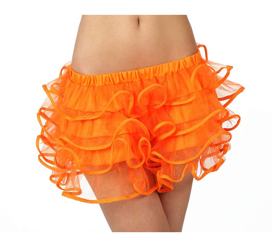 Falda con volantes naranja neon para chicas talla S