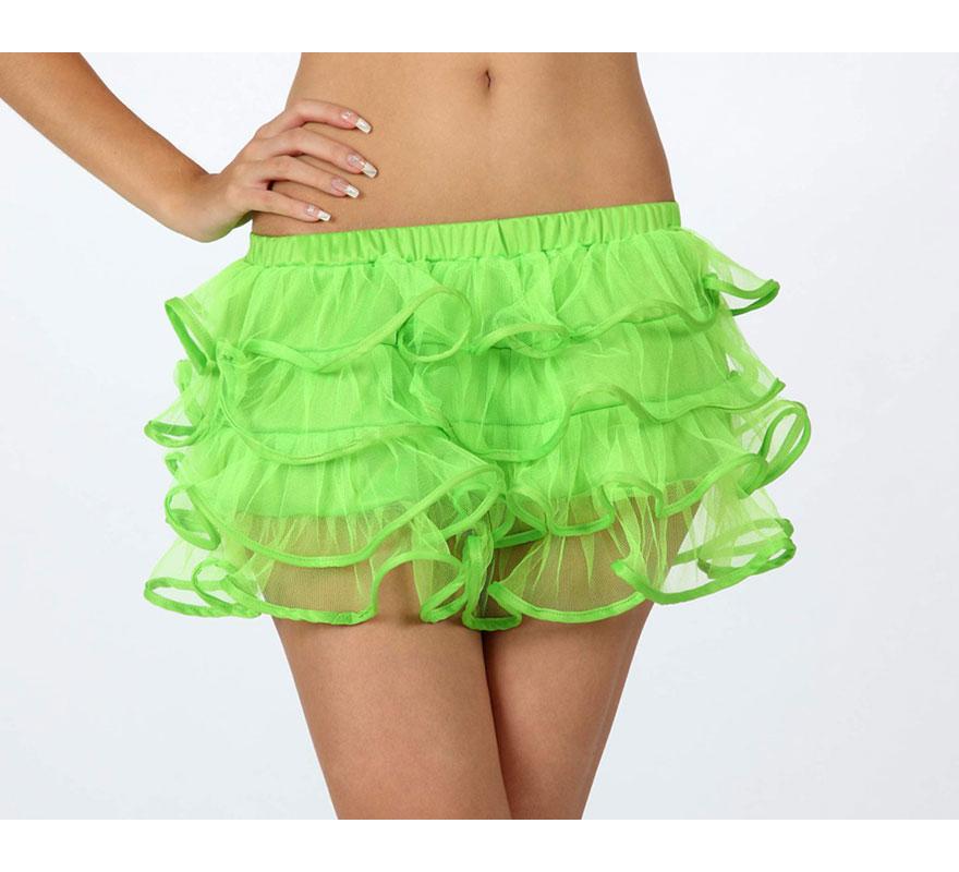 Falda o Tutú con volantes verde neon para mujer. Talla 1 ó talla S = 34/38 para chicas delgadas y adolescentes.