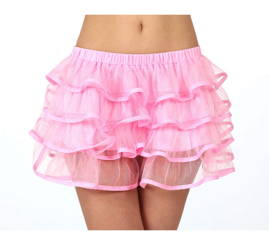 Falda con volantes rosa neon para chicas talla S