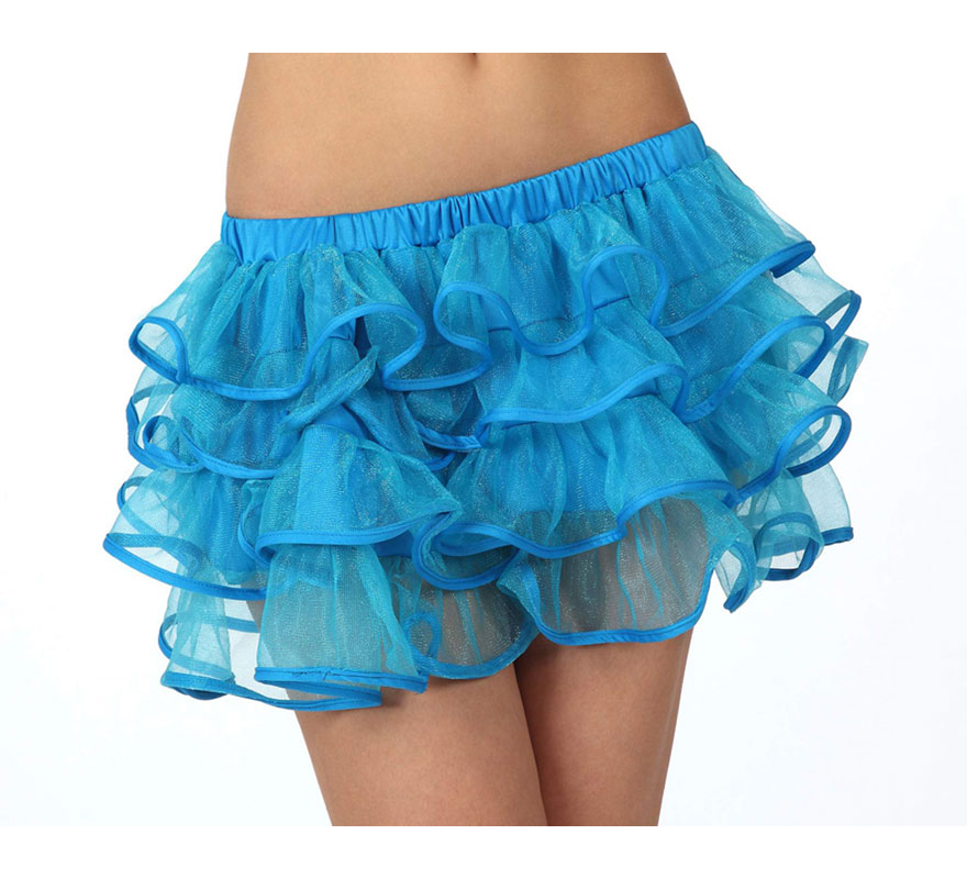 Falda o Tutú con volantes azul neon para mujer. Talla 1 ó talla S = 34/38 para chicas delgadas y adolescentes.