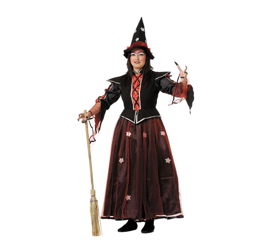 Disfraz de Bruja lujo para mujer. Varias tallas. Incluye vestido y sombrero. Escoba NO incluida, podrás verla en la sección de Complementos.