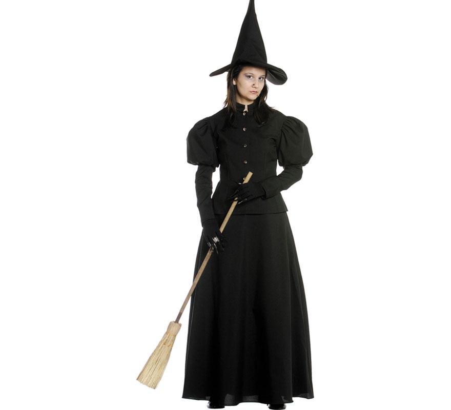 Disfraz de Bruja negro para mujer. Varias tallas. Incluye camisa, falda y gorro. Escoba NO incluida, podrás verla en la sección de Complementos.