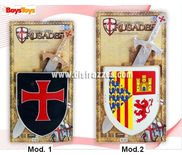 Conjunto Escudo con Espada infantil. Incluye escudo y espada. Disponible en varios modelos surtidos, precio por  unidad, se venden por separado. Perfecto como Complementos de los disfraces Medievales.