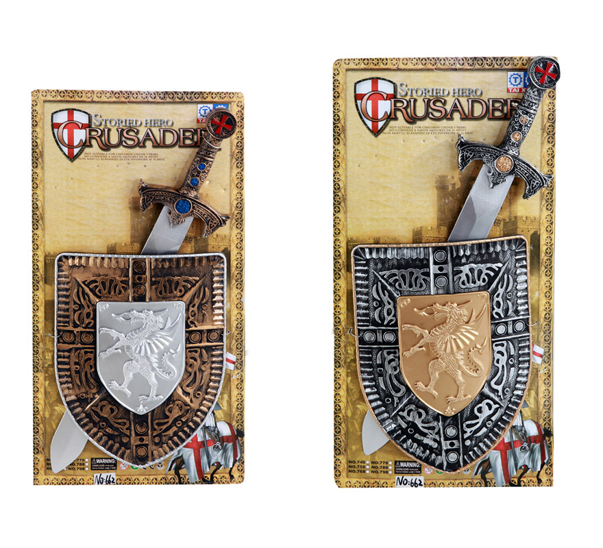 Conjunto Espada con Escudo infantil. Precio unidad. Incluye escudo y espada. Disponible en 2 modelos surtidos, precio por  unidad, se venden por separado. Perfecto como Complementos de los disfraces Medievales.