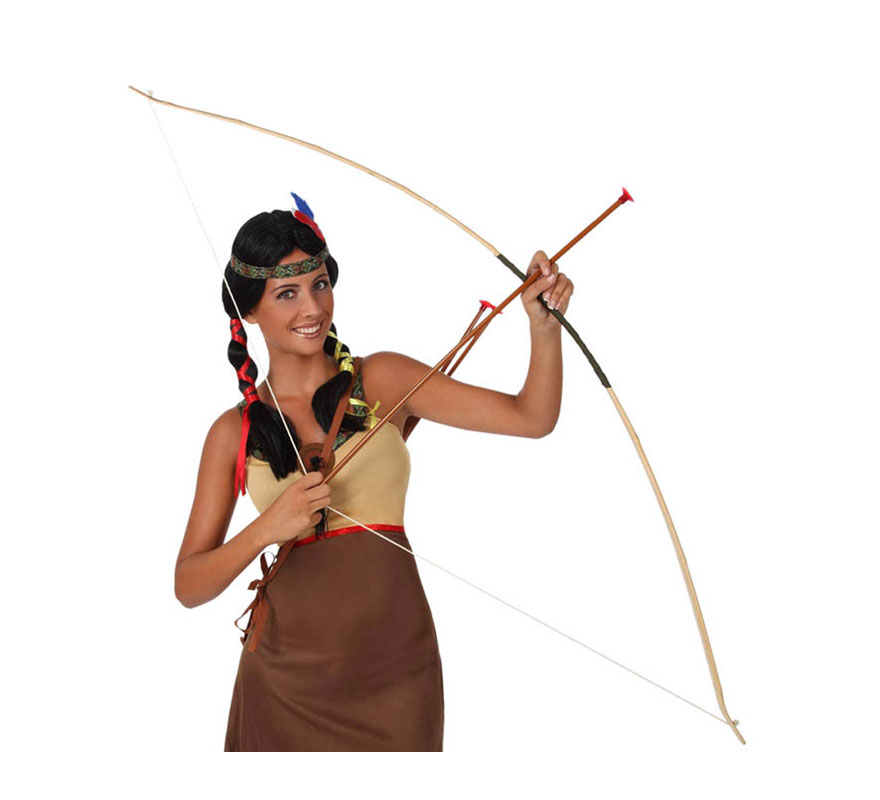Set de Indio con arco de 150 cm y 3 flechas. Perfecto como complemento del disfraz de Robin Hood y de Arquero.
