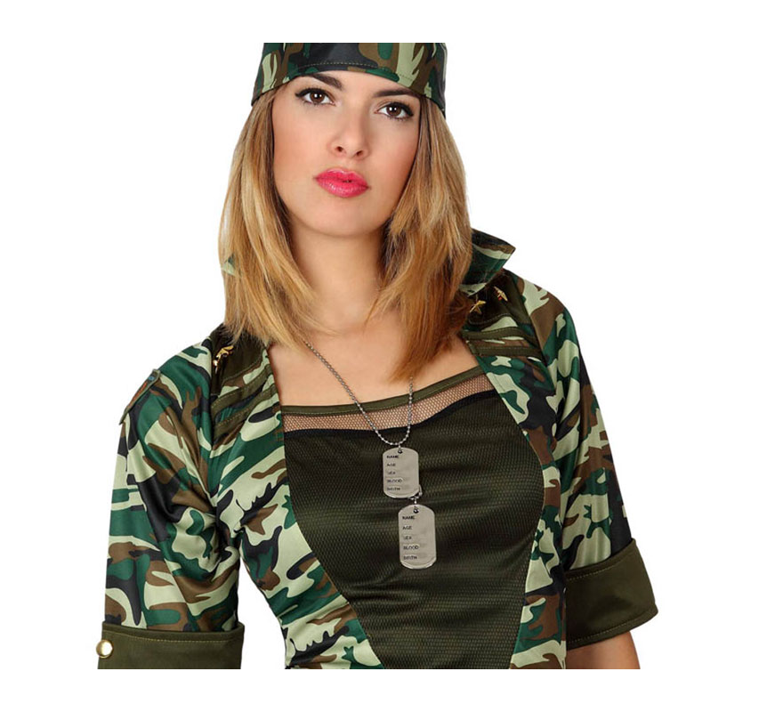 Set Militar de cadena y 2 placas de indentidad