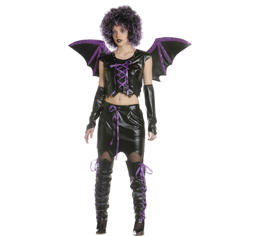 Disfraz de Vampira o Vampiresa Sexy para mujer. Varias tallas. Incluye top, falda, manguitos, alas y cubrebotas.
