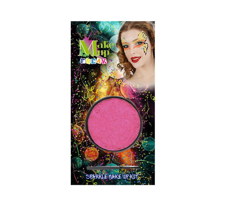 Maquillaje al agua purpurina rosa con pincel