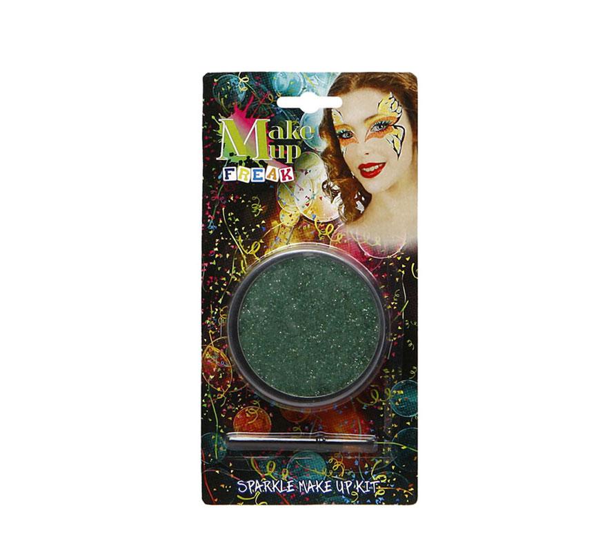 Maquillaje al agua purpurina verde con pincel