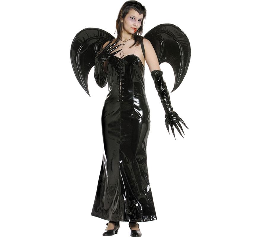 Disfraz de Vampiresa Murciélago mujer para Halloween. Talla Universal de mujer válida hasta la 42/44. Incluye vestido, alas y guantes.