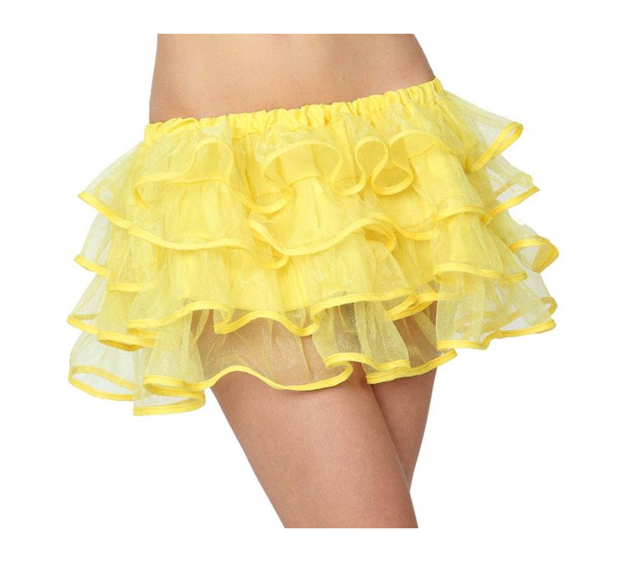 Falda o Tutú con volantes amarilla neon para mujer. Talla 1 ó talla S = 34/38 para chicas delgadas y adolescentes.