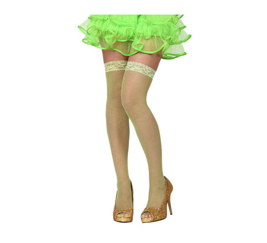 Medias Liga de rejilla verde neon. Talla universal. Perfectas para el disfraz de Hada.