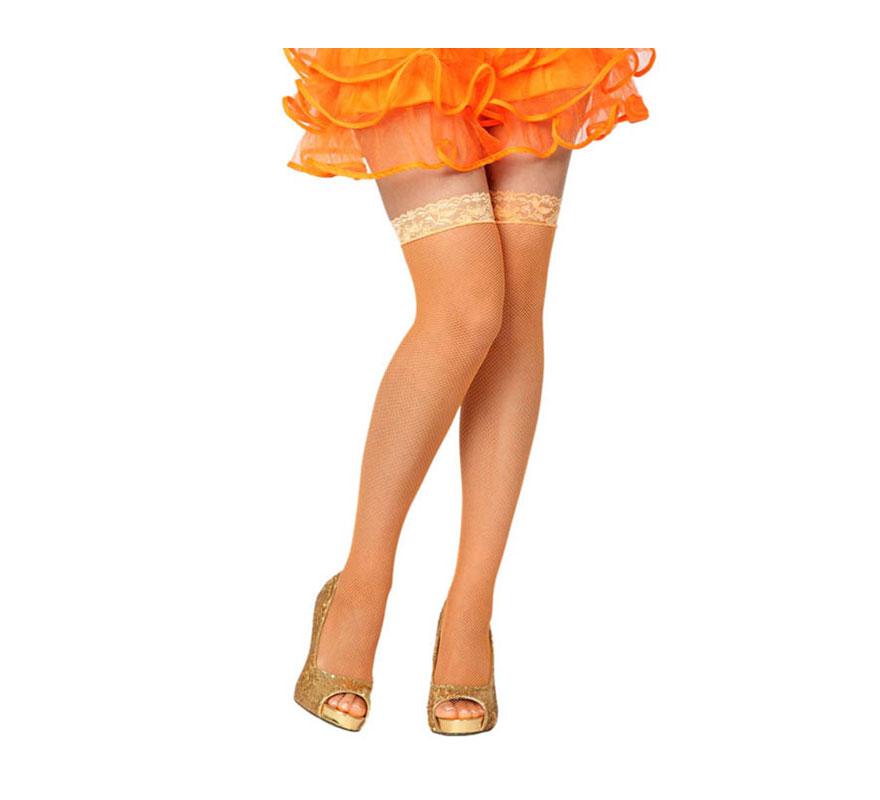 Medias Liga de rejilla naranja neon. Talla universal.