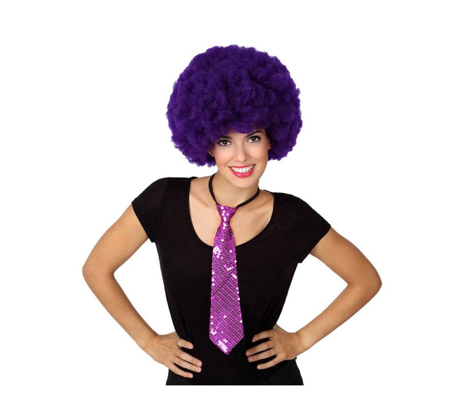 Corbata brillo lila de 38 cm.