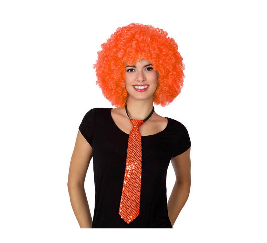 Corbata brillo naranja de 38 cm.