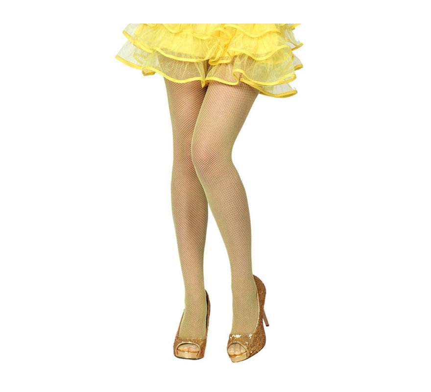 Pantys de rejilla amarilla neon. Talla universal. Ideal para el disfraz de Blancanieves.