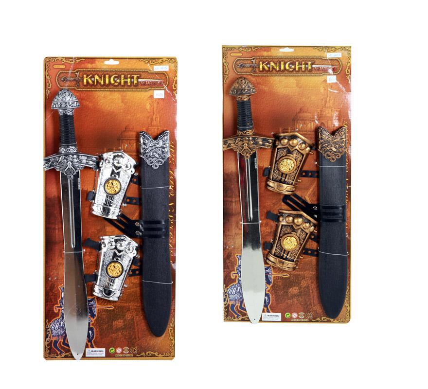 Set Armas de Caballero Medieval 4 piezas infantil. Dos colores surtidos, precio por unidad, se venden por separado.