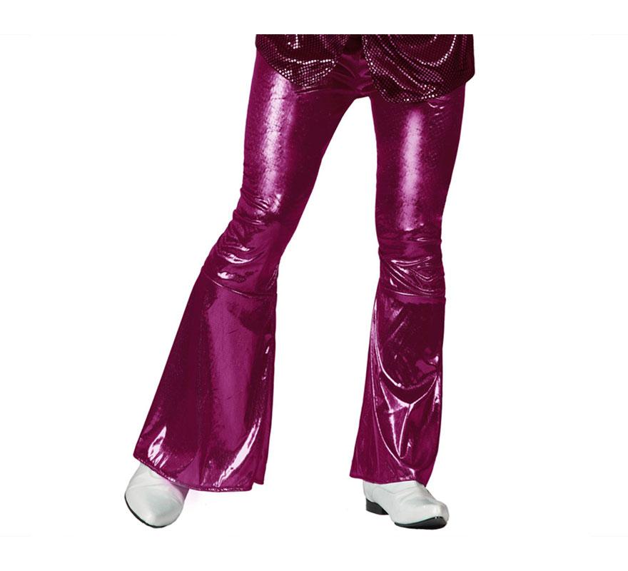 Pantalón de la Disco fucsia para hombre. Talla 1 ó talla S = 48/52 para chicos delgados o adolescentes. Incluye pantalón. Perfecto para disfrazarse de Discotequero.
