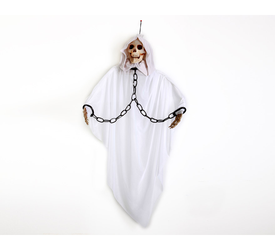 Esqueleto encapuchado con luz, 135x18x153cm. Perfecto para decoración de Halloween.