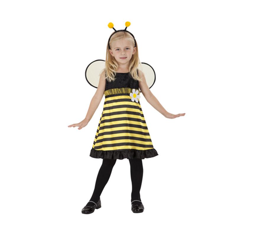 Disfraz de Abejita para niñas de 7 a 9 años. Incluye vestido, alas y tocado.