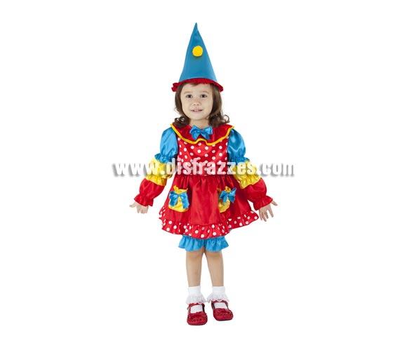 Disfraz de Dulce Payasita para niñas de 1 a 2 años. Incluye vestido y sombrero.