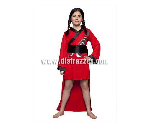 Disfraz barato de Doncella Oriental para niñas de 5 a 6 años. Incluye kimono y cinturón con lazada detrás. Disfraz de China o Geisha para niñas.