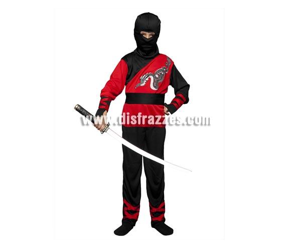 Disfraz barato de Dragón Ninja para niños de 7 a 9 años. Incluye camisa, pantalón, capucha, cinturón y muñequeras. Espada NO incluida, podrás verla en Complementos - Armas.